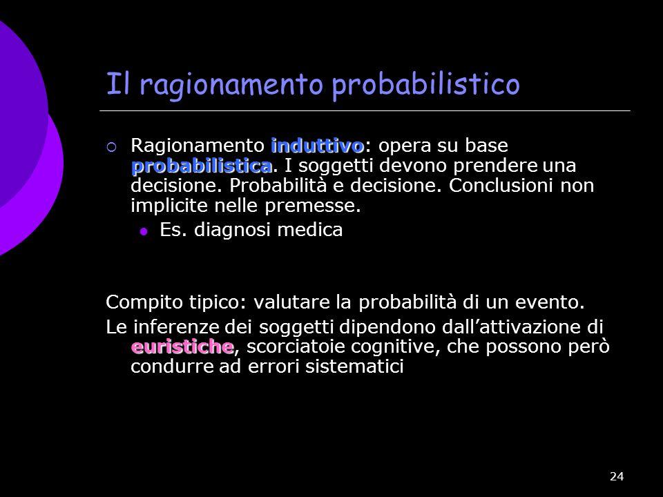 24 Il ragionamento probabilistico induttivo probabilistica Ragionamento induttivo: opera su base probabilistica. I soggetti devono prendere una decisi