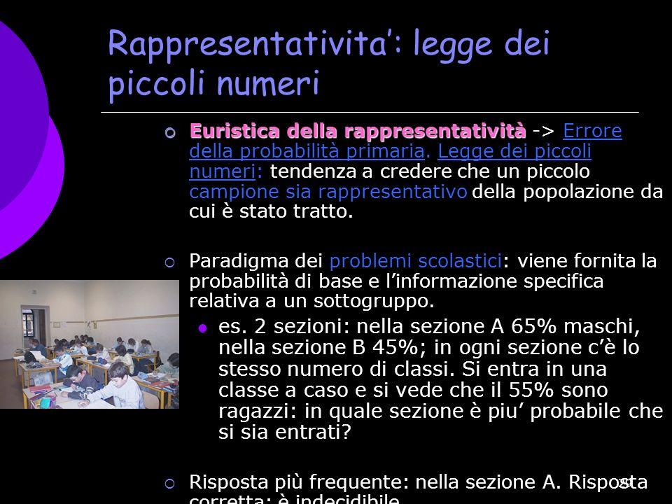 29 Rappresentativita: legge dei piccoli numeri Euristica della rappresentatività Euristica della rappresentatività -> Errore della probabilità primari