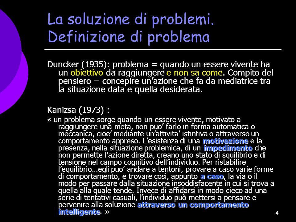 4 La soluzione di problemi. Definizione di problema Duncker (1935): problema = quando un essere vivente ha un obiettivo da raggiungere e non sa come.