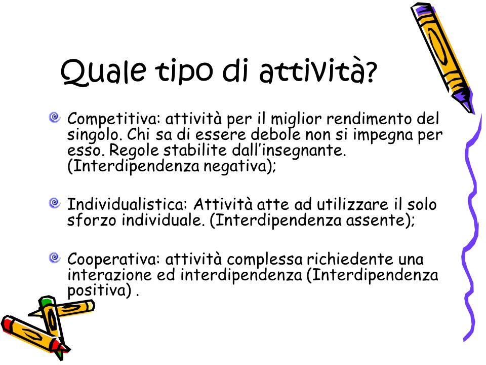 Quale tipo di attività. Competitiva: attività per il miglior rendimento del singolo.