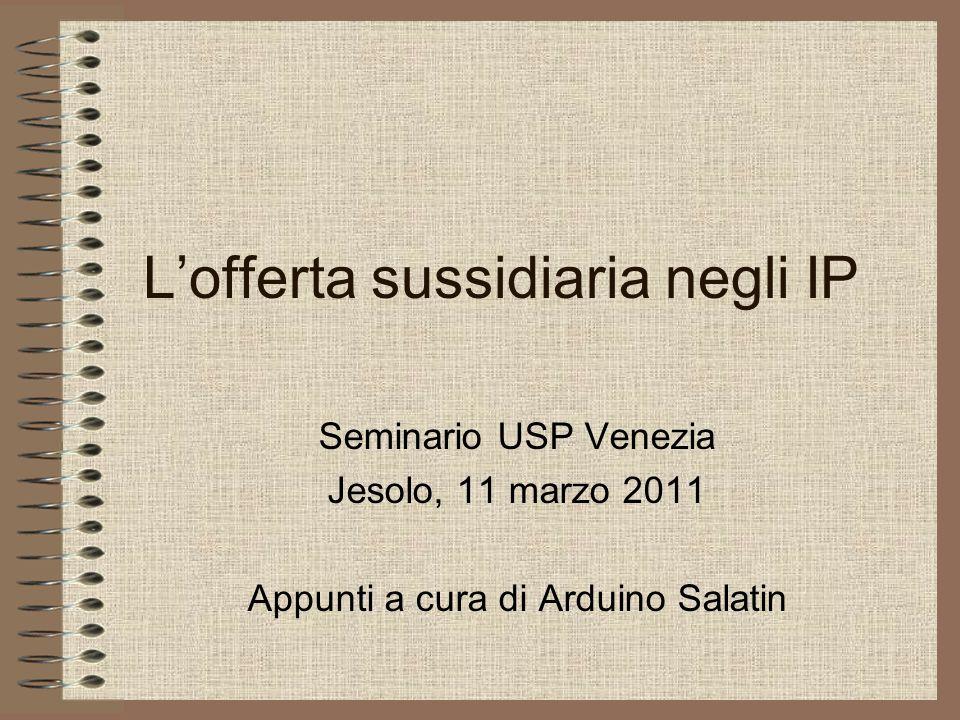 Lofferta sussidiaria negli IP Seminario USP Venezia Jesolo, 11 marzo 2011 Appunti a cura di Arduino Salatin
