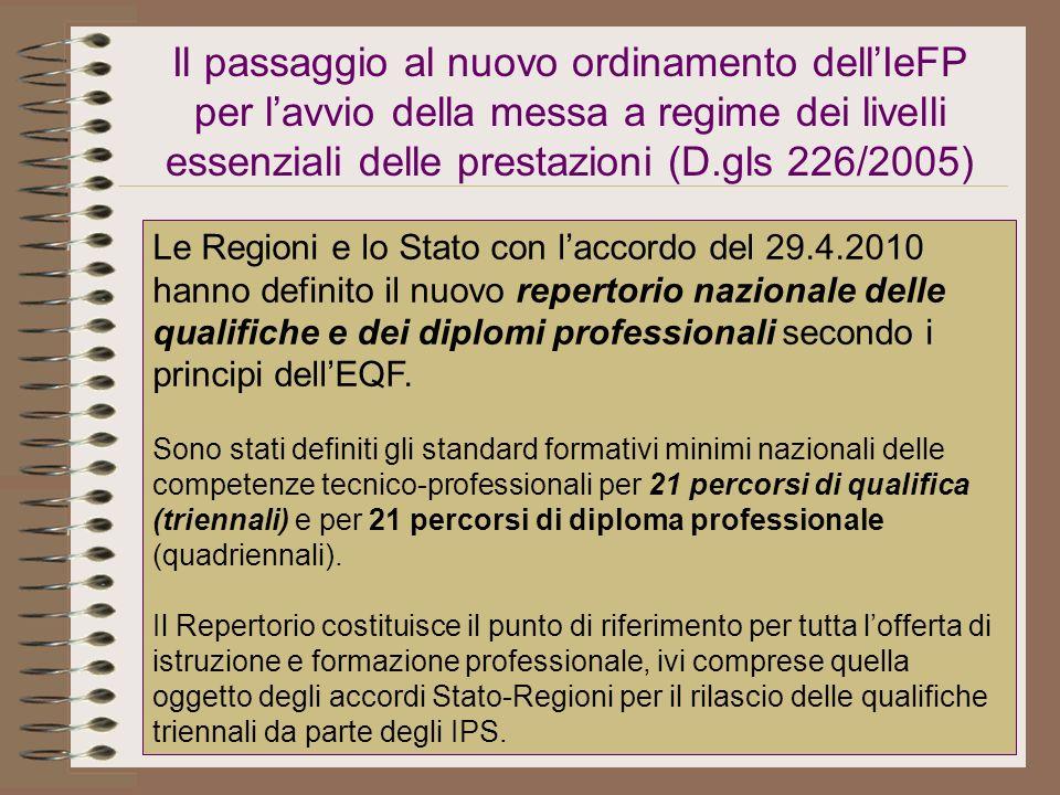 Il passaggio al nuovo ordinamento dellIeFP per lavvio della messa a regime dei livelli essenziali delle prestazioni (D.gls 226/2005) Le Regioni e lo S
