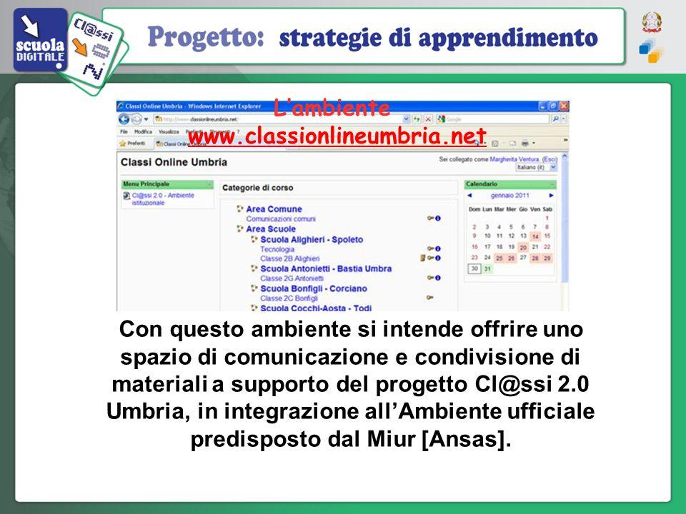 Con questo ambiente si intende offrire uno spazio di comunicazione e condivisione di materiali a supporto del progetto Cl@ssi 2.0 Umbria, in integrazi