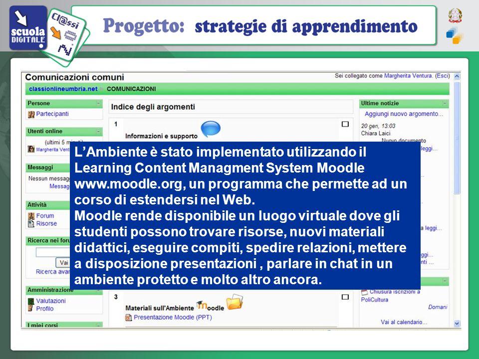 LAmbiente è stato implementato utilizzando il Learning Content Managment System Moodle www.moodle.org, un programma che permette ad un corso di estend