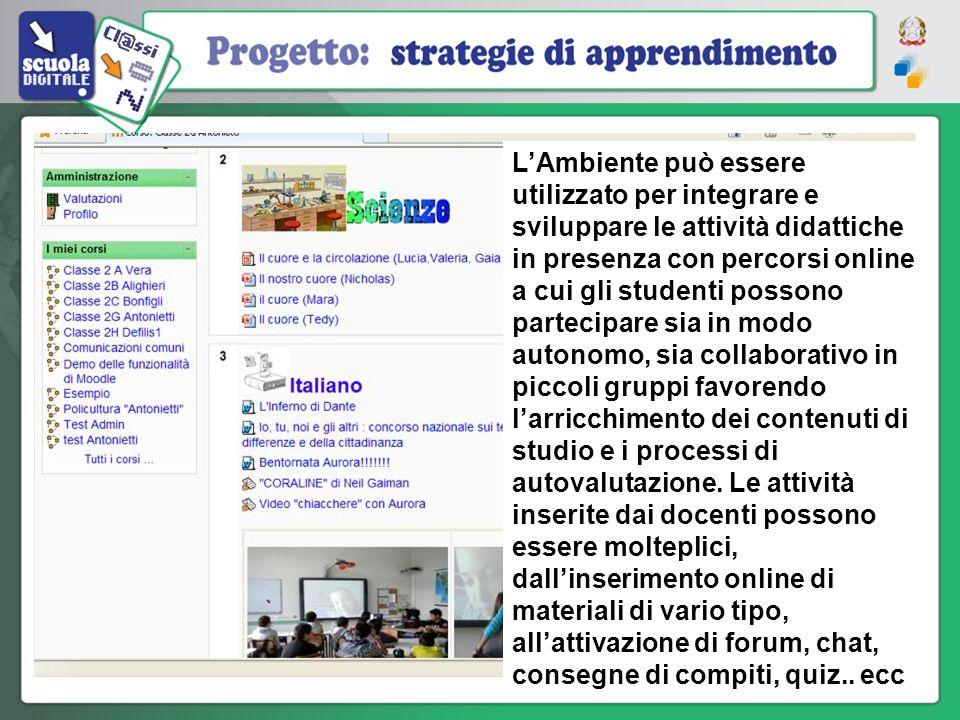 LAmbiente può essere utilizzato per integrare e sviluppare le attività didattiche in presenza con percorsi online a cui gli studenti possono partecipa