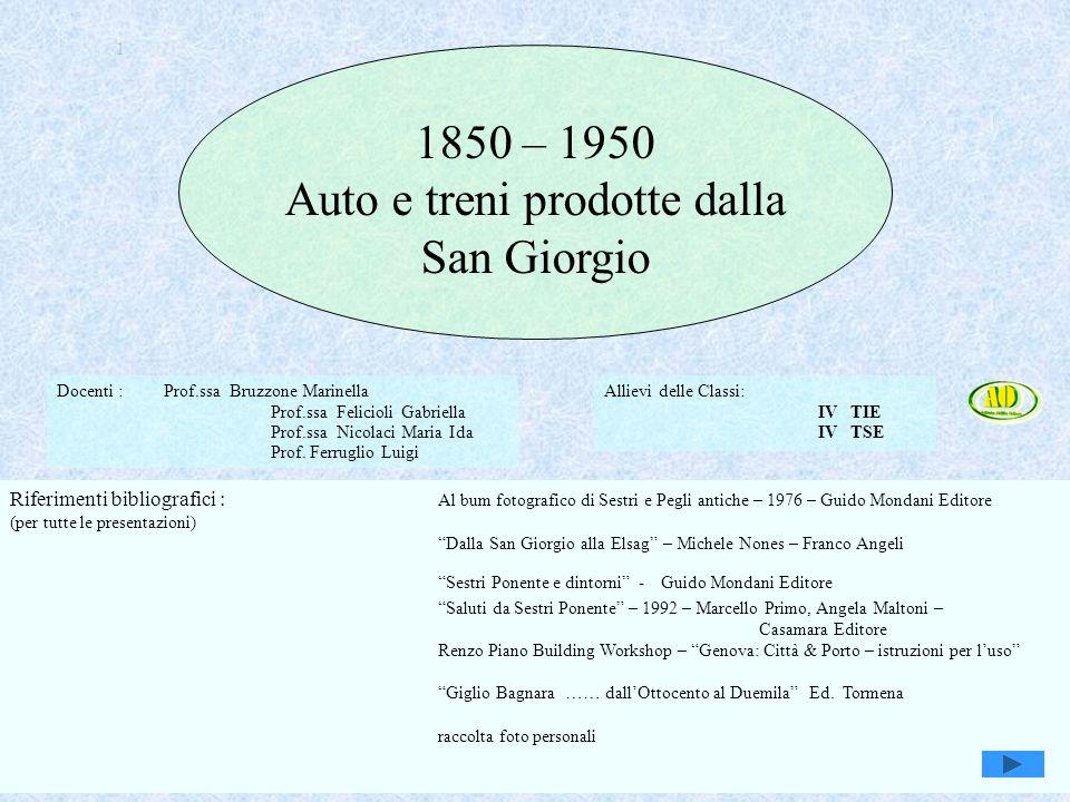 Genova, Sestri e Attilio Odero1 1 1850 – 1950 Auto e treni prodotte dalla San Giorgio Docenti : Prof.ssa Bruzzone Marinella Prof.ssa Felicioli Gabriel