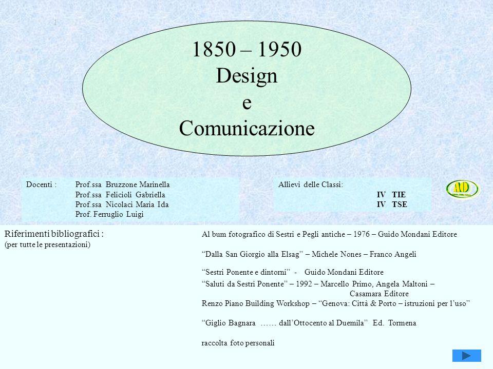 Genova, Sestri e Attilio Odero1 1 1850 – 1950 Design e Comunicazione Docenti : Prof.ssa Bruzzone Marinella Prof.ssa Felicioli Gabriella Prof.ssa Nicolaci Maria Ida Prof.