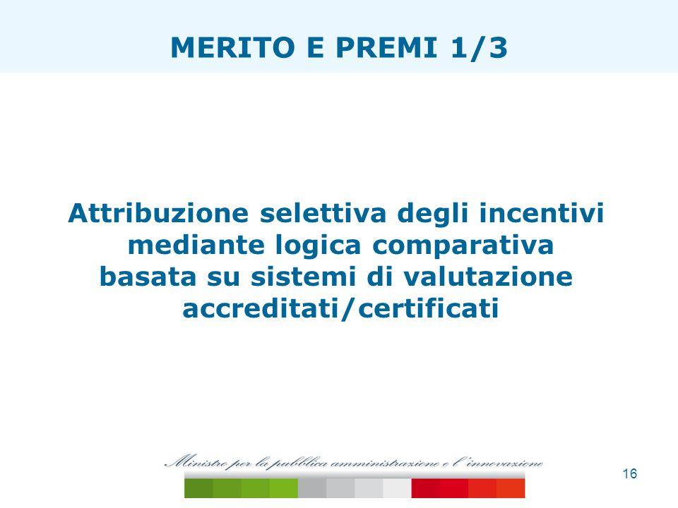 16 ESTENSIONE TAGLIA ONERI MERITO E PREMI 1/3 Attribuzione selettiva degli incentivi mediante logica comparativa basata su sistemi di valutazione accr