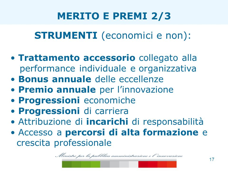 17 ESTENSIONE TAGLIA ONERI MERITO E PREMI 2/3 STRUMENTI (economici e non): Trattamento accessorio collegato alla performance individuale e organizzati