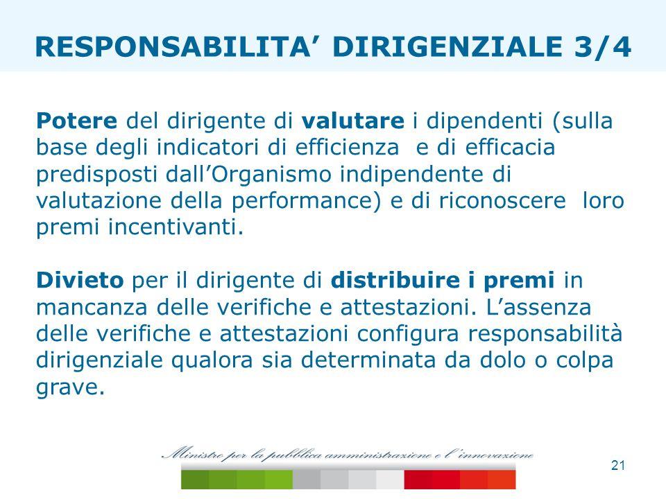 21 ESTENSIONE TAGLIA ONERI RESPONSABILITA DIRIGENZIALE 3/4 Potere del dirigente di valutare i dipendenti (sulla base degli indicatori di efficienza e