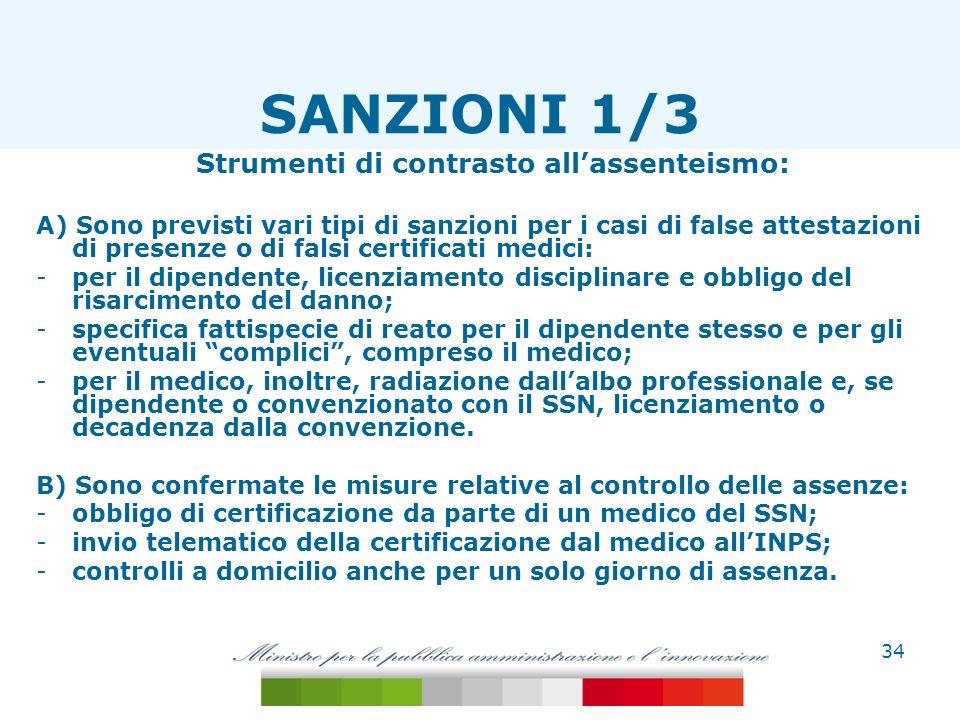Strumenti di contrasto allassenteismo: A) Sono previsti vari tipi di sanzioni per i casi di false attestazioni di presenze o di falsi certificati medi
