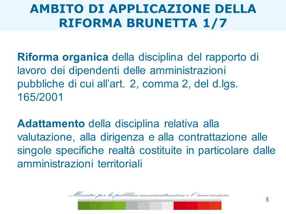 6 ESTENSIONE TAGLIA ONERI Le disposizioni del decreto delegato si applicano alle Regioni ad autonomia speciale e alle province di Trento e Bolzano compatibilmente con i rispettivi Statuti e le norme di attuazione AMBITO DI APPLICAZIONE DELLA RIFORMA BRUNETTA 2/7