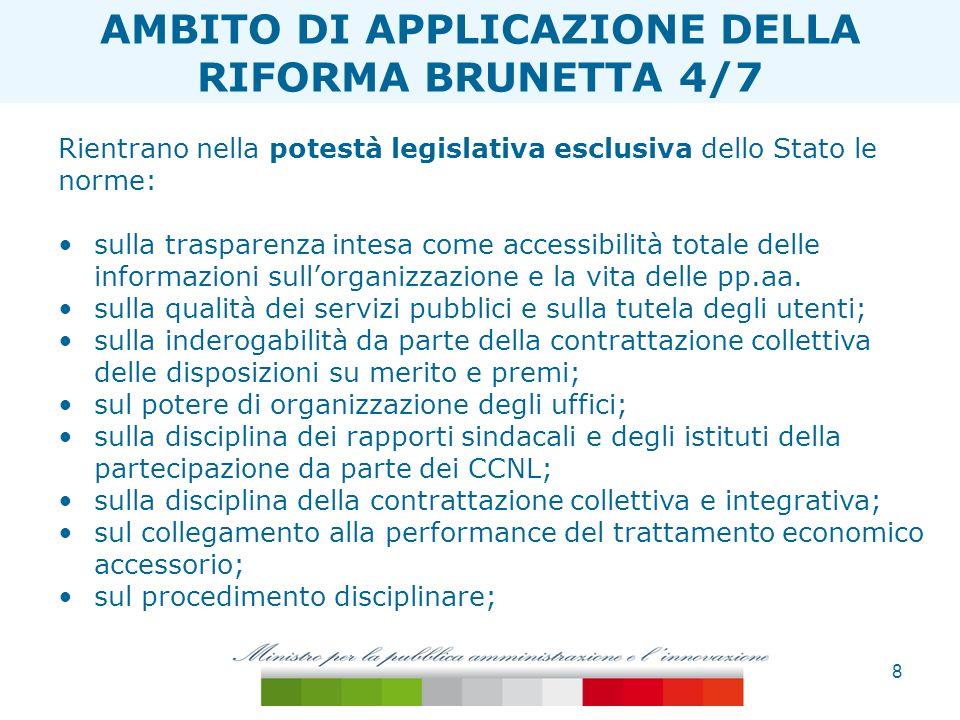 8 ESTENSIONE TAGLIA ONERI Rientrano nella potestà legislativa esclusiva dello Stato le norme: sulla trasparenza intesa come accessibilità totale delle
