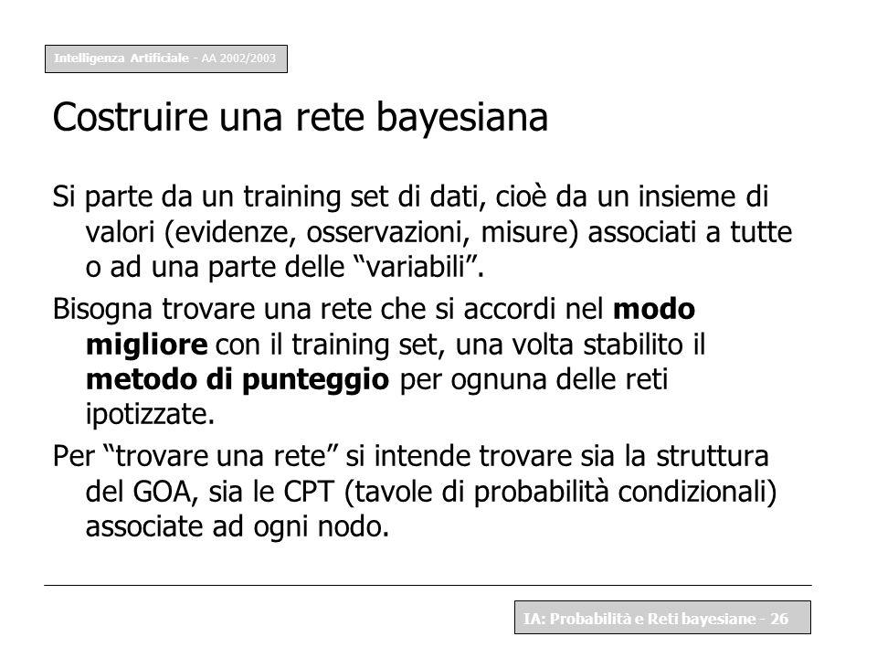 Intelligenza Artificiale - AA 2002/2003 IA: Probabilità e Reti bayesiane - 26 Costruire una rete bayesiana Si parte da un training set di dati, cioè d