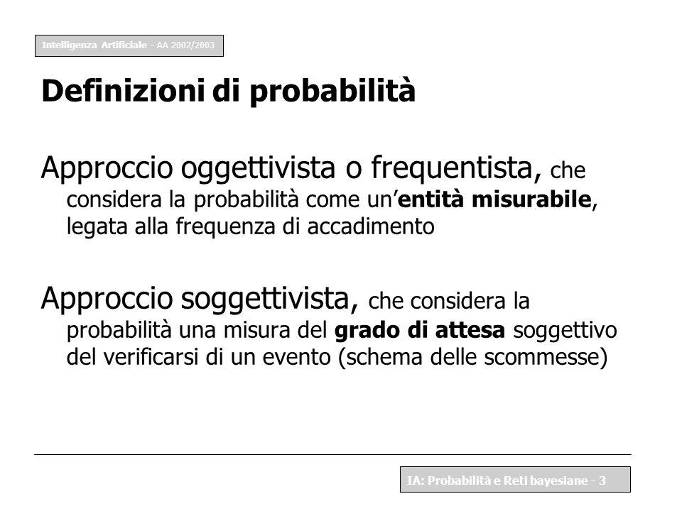 Intelligenza Artificiale - AA 2002/2003 IA: Probabilità e Reti bayesiane - 3 Definizioni di probabilità Approccio oggettivista o frequentista, che con