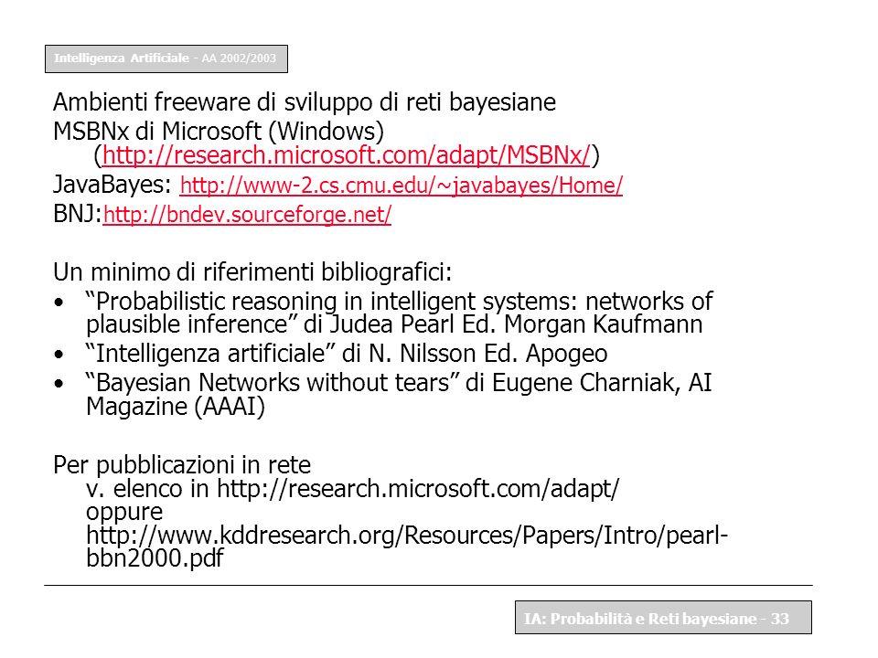 Intelligenza Artificiale - AA 2002/2003 IA: Probabilità e Reti bayesiane - 33 Ambienti freeware di sviluppo di reti bayesiane MSBNx di Microsoft (Wind