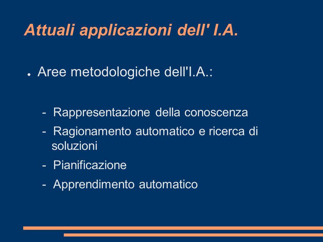 Attuali applicazioni dell' I.A. Aree metodologiche dell'I.A.: - Rappresentazione della conoscenza - Ragionamento automatico e ricerca di soluzioni - P