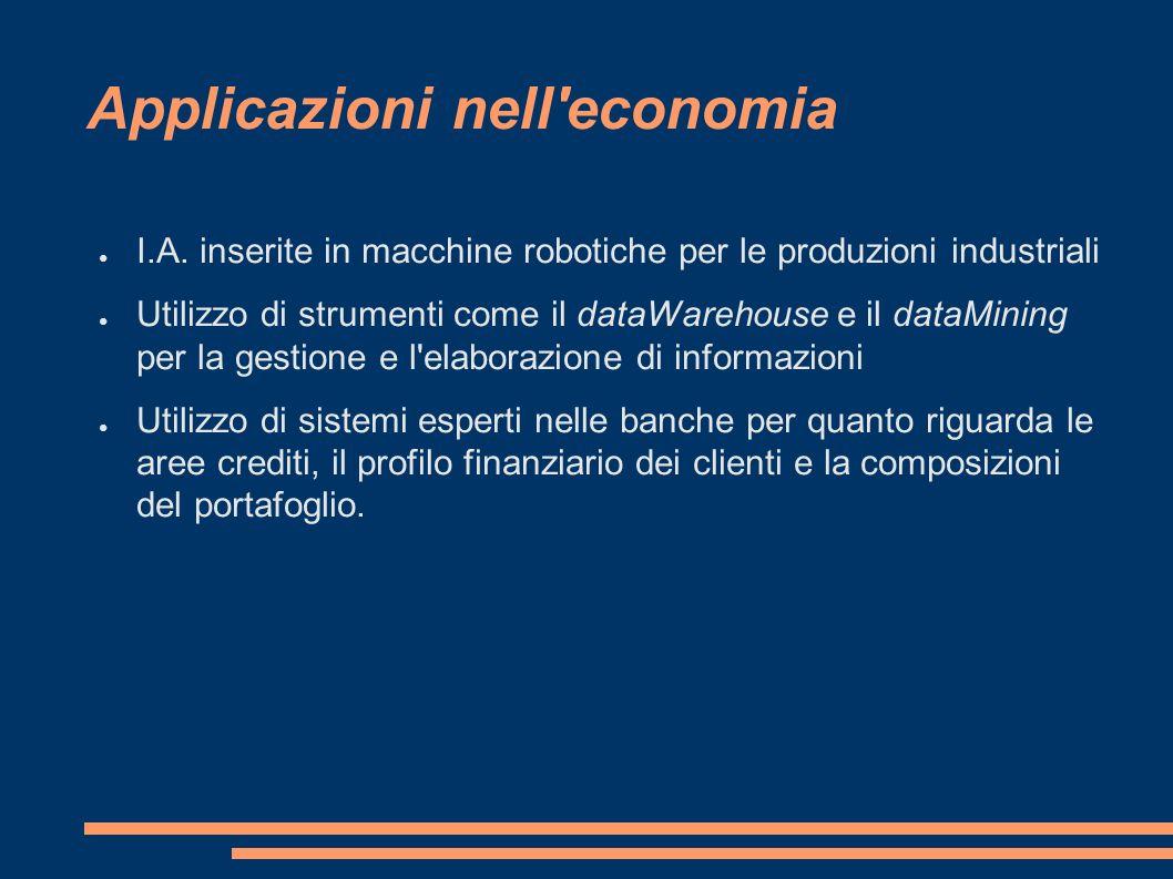 I.A. inserite in macchine robotiche per le produzioni industriali Utilizzo di strumenti come il dataWarehouse e il dataMining per la gestione e l'elab