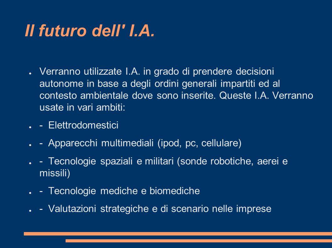 Il futuro dell' I.A. Verranno utilizzate I.A. in grado di prendere decisioni autonome in base a degli ordini generali impartiti ed al contesto ambient