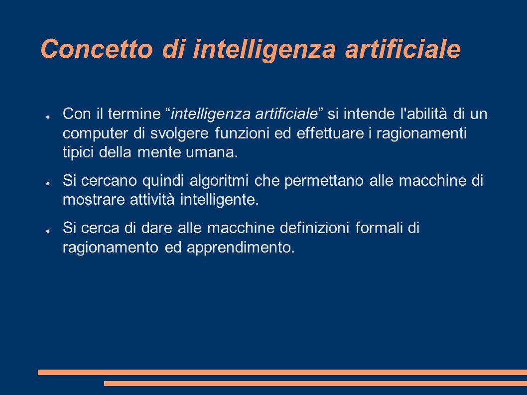 Concetto di intelligenza artificiale Con il termine intelligenza artificiale si intende l'abilità di un computer di svolgere funzioni ed effettuare i