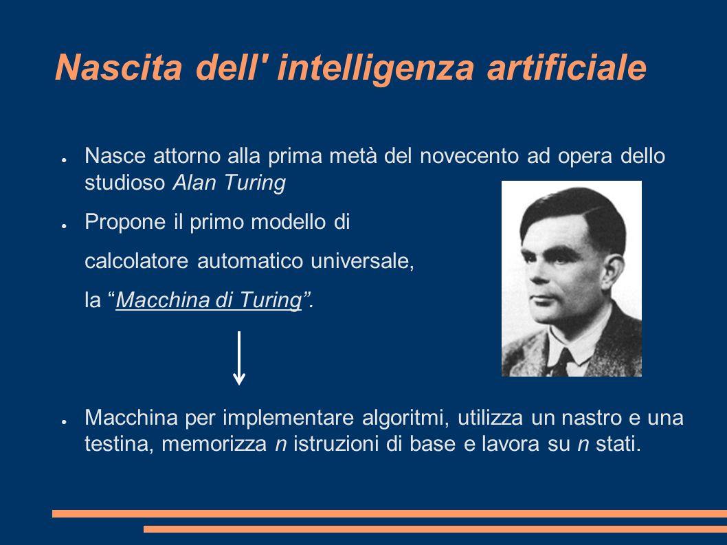 Nascita dell' intelligenza artificiale Nasce attorno alla prima metà del novecento ad opera dello studioso Alan Turing Propone il primo modello di cal