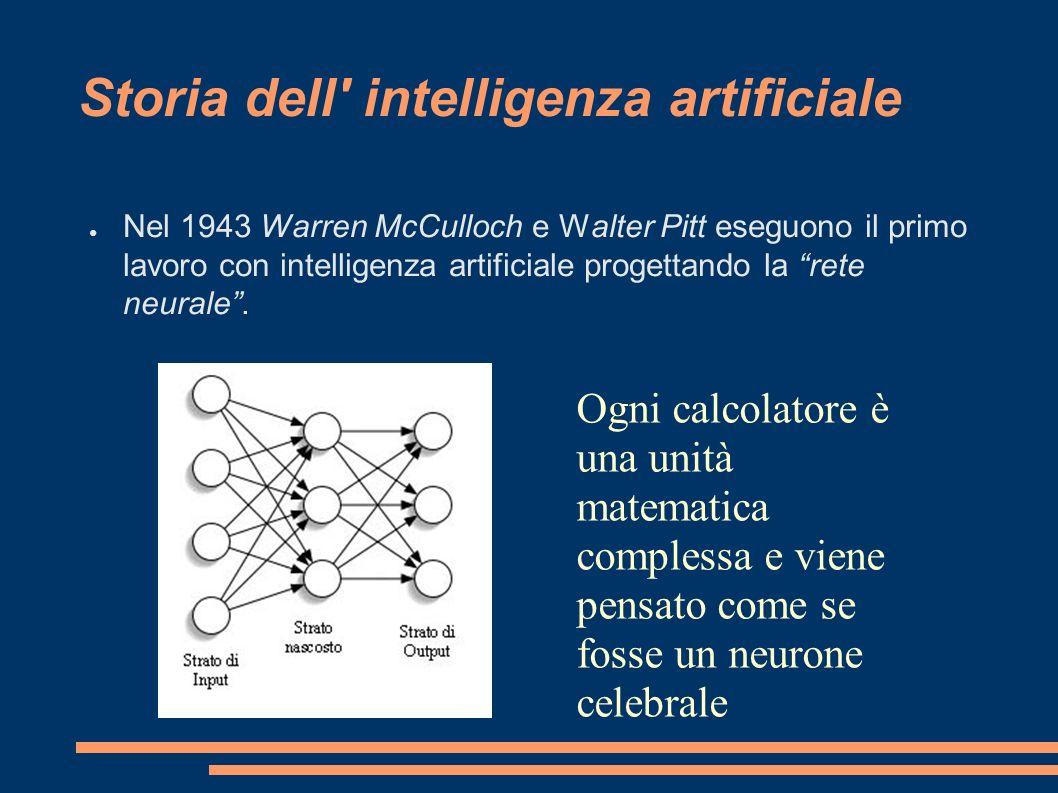 Storia dell' intelligenza artificiale Nel 1943 Warren McCulloch e Walter Pitt eseguono il primo lavoro con intelligenza artificiale progettando la ret