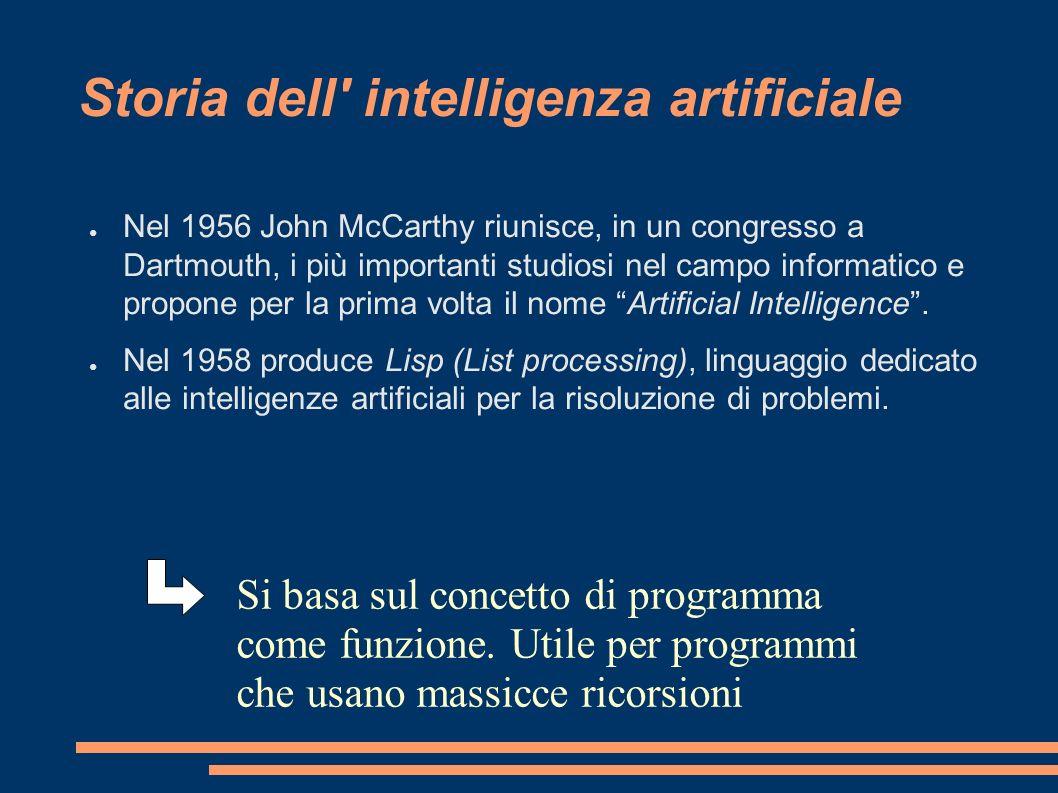 Storia dell' intelligenza artificiale Nel 1956 John McCarthy riunisce, in un congresso a Dartmouth, i più importanti studiosi nel campo informatico e
