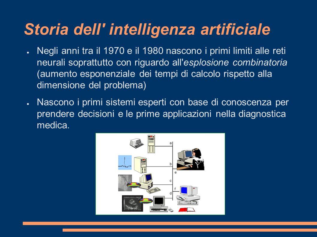 Storia dell' intelligenza artificiale Negli anni tra il 1970 e il 1980 nascono i primi limiti alle reti neurali soprattutto con riguardo all'esplosion