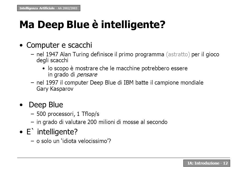 Intelligenza Artificiale - AA 2002/2003 IA: Introduzione - 12 Ma Deep Blue è intelligente? Computer e scacchi –nel 1947 Alan Turing definisce il primo