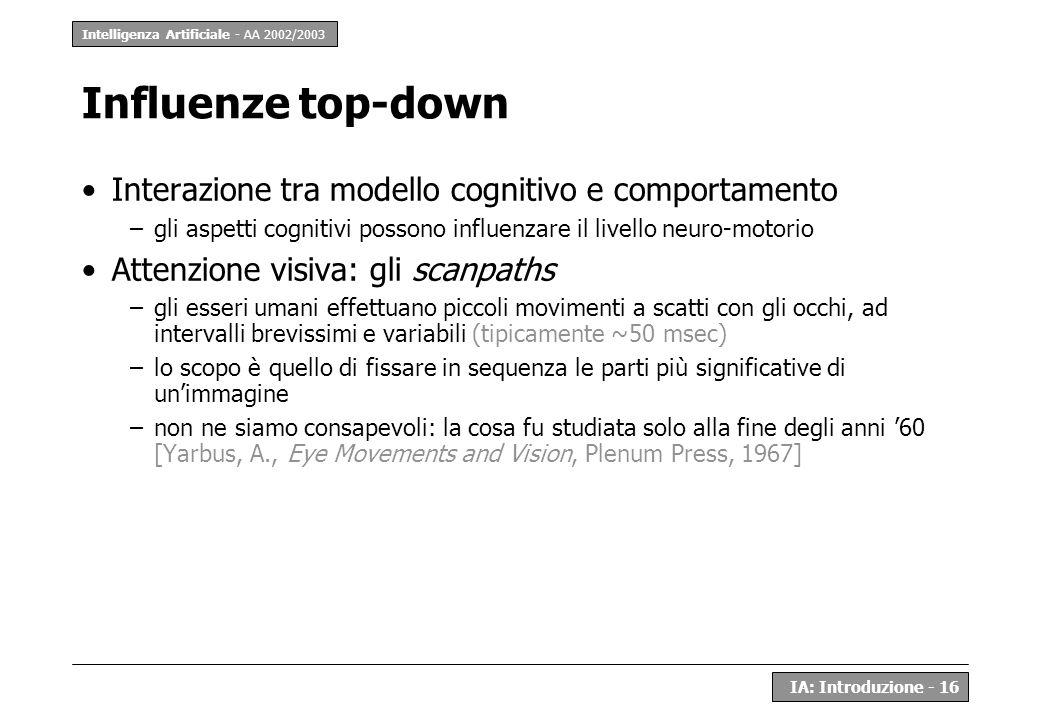 Intelligenza Artificiale - AA 2002/2003 IA: Introduzione - 16 Influenze top-down Interazione tra modello cognitivo e comportamento –gli aspetti cognit