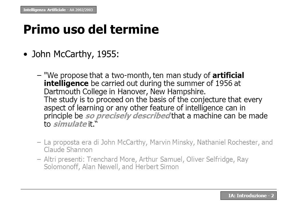 Intelligenza Artificiale - AA 2002/2003 IA: Introduzione - 2 Primo uso del termine John McCarthy, 1955: –
