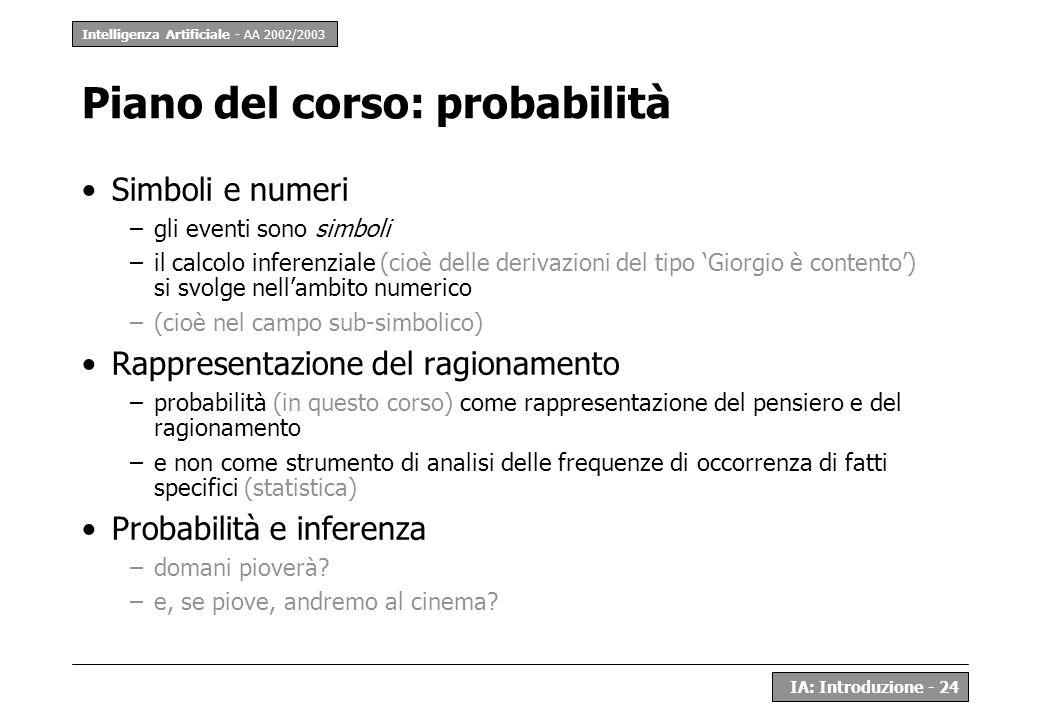 Intelligenza Artificiale - AA 2002/2003 IA: Introduzione - 24 Piano del corso: probabilità Simboli e numeri –gli eventi sono simboli –il calcolo infer