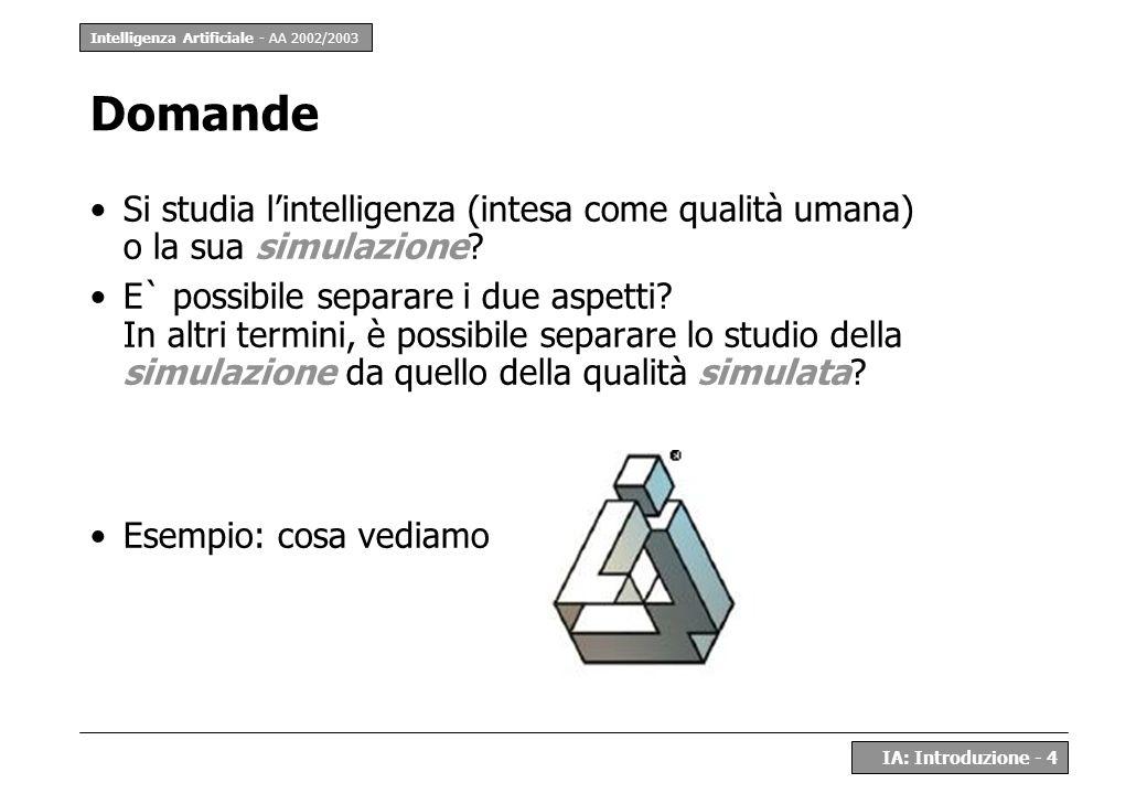 Intelligenza Artificiale - AA 2002/2003 IA: Introduzione - 4 Domande Si studia lintelligenza (intesa come qualità umana) o la sua simulazione? E` poss
