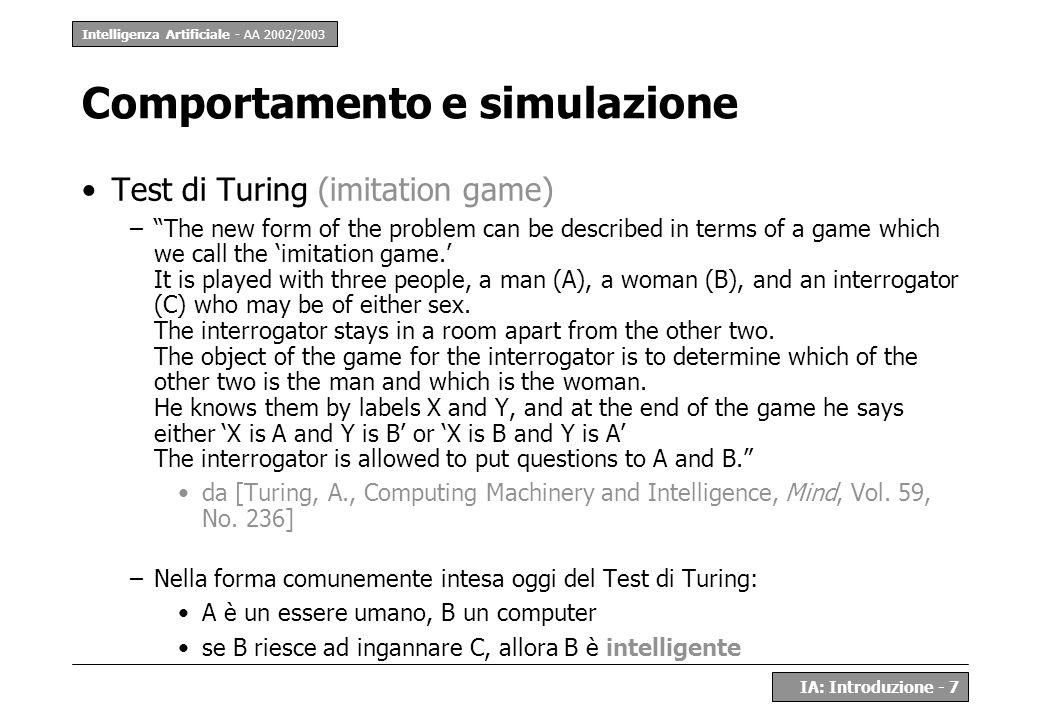 Intelligenza Artificiale - AA 2002/2003 IA: Introduzione - 7 Comportamento e simulazione Test di Turing (imitation game) –The new form of the problem