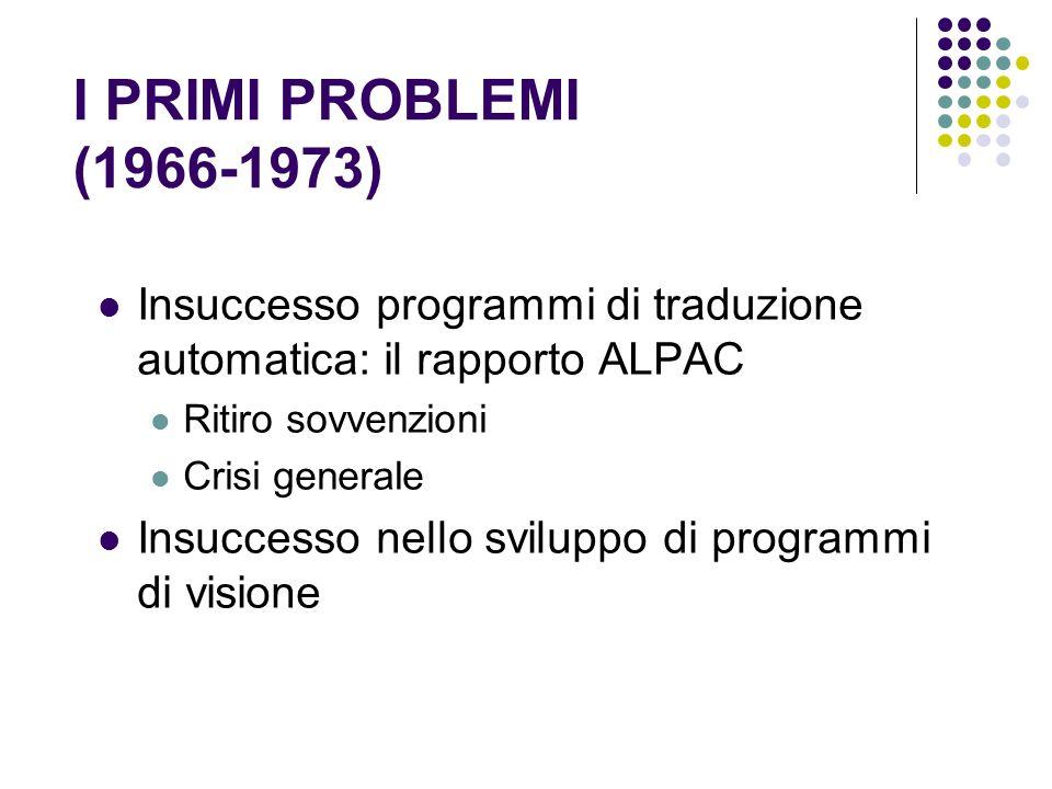 I PRIMI PROBLEMI (1966-1973) Insuccesso programmi di traduzione automatica: il rapporto ALPAC Ritiro sovvenzioni Crisi generale Insuccesso nello svilu