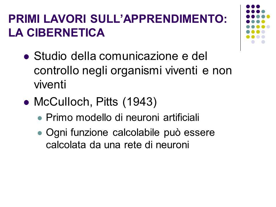 PRIMI LAVORI SULLAPPRENDIMENTO: LA CIBERNETICA Studio della comunicazione e del controllo negli organismi viventi e non viventi McCulloch, Pitts (1943