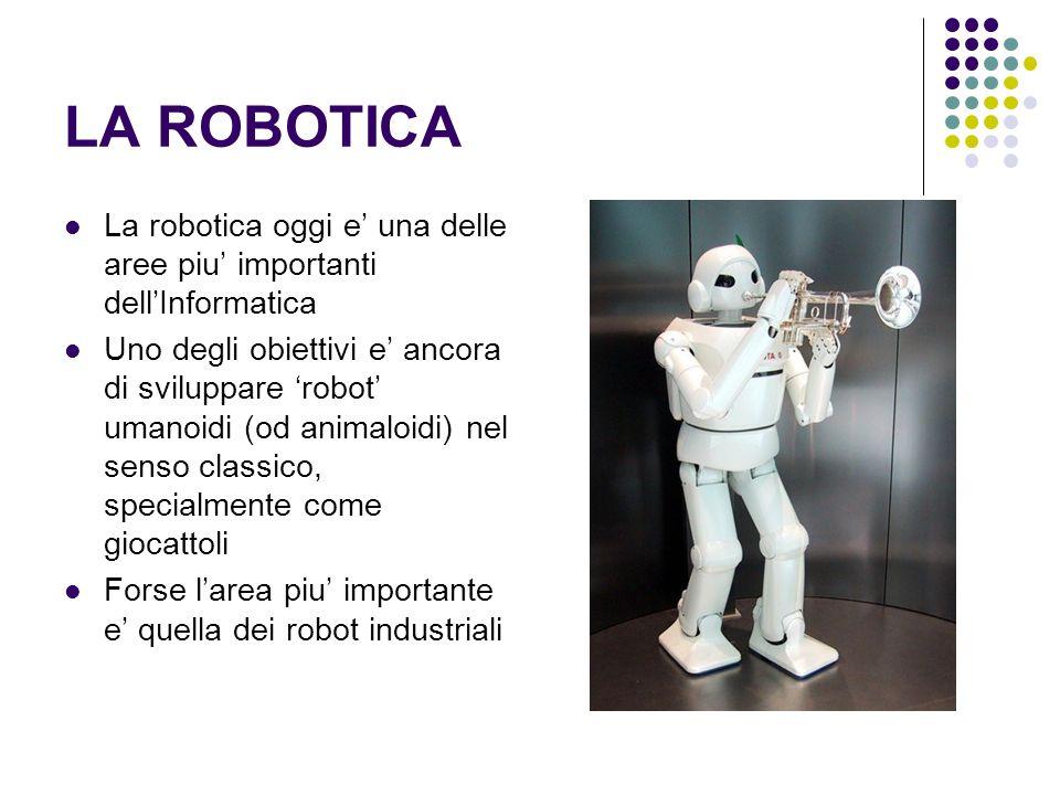 LA ROBOTICA La robotica oggi e una delle aree piu importanti dellInformatica Uno degli obiettivi e ancora di sviluppare robot umanoidi (od animaloidi)