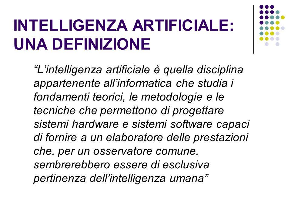 INTELLIGENZA ARTIFICIALE: UNA DEFINIZIONE Lintelligenza artificiale è quella disciplina appartenente allinformatica che studia i fondamenti teorici, l