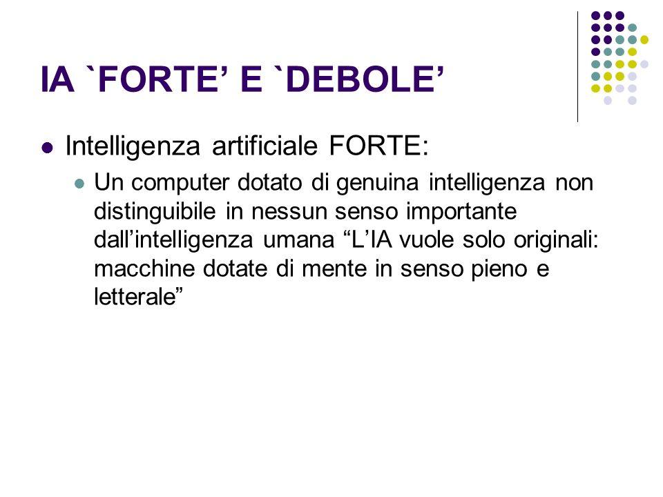 IA `FORTE E `DEBOLE Intelligenza artificiale FORTE: Un computer dotato di genuina intelligenza non distinguibile in nessun senso importante dallintell