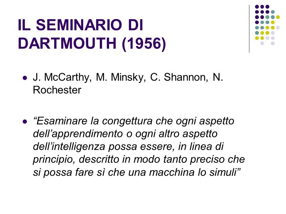 IL SEMINARIO DI DARTMOUTH (1956) J. McCarthy, M. Minsky, C. Shannon, N. Rochester Esaminare la congettura che ogni aspetto dellapprendimento o ogni al
