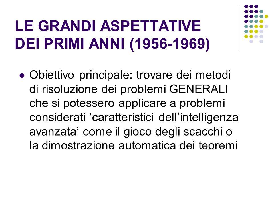 LE GRANDI ASPETTATIVE DEI PRIMI ANNI (1956-1969) Obiettivo principale: trovare dei metodi di risoluzione dei problemi GENERALI che si potessero applic