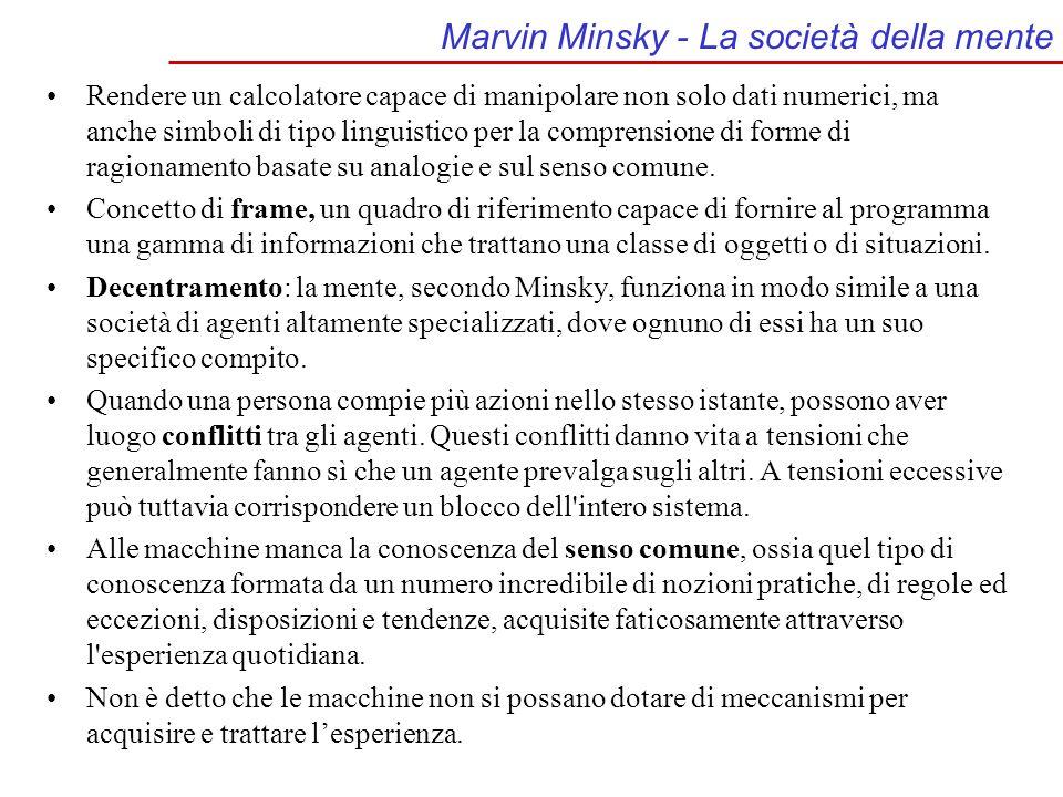 Marvin Minsky - La società della mente Rendere un calcolatore capace di manipolare non solo dati numerici, ma anche simboli di tipo linguistico per la comprensione di forme di ragionamento basate su analogie e sul senso comune.
