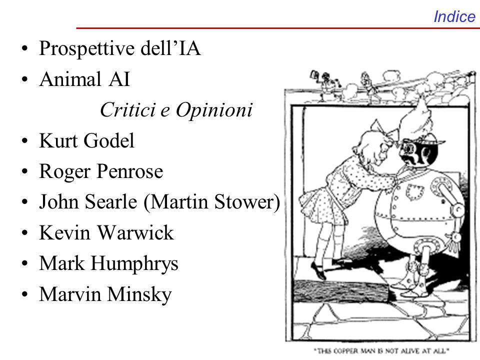 Indice Prospettive dellIA Animal AI Critici e Opinioni Kurt Godel Roger Penrose John Searle (Martin Stower) Kevin Warwick Mark Humphrys Marvin Minsky
