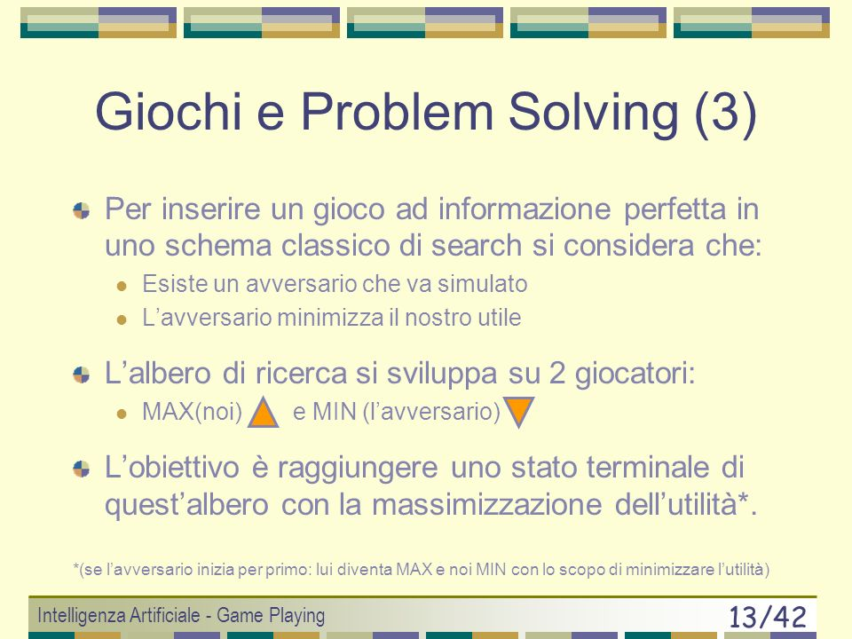 Intelligenza Artificiale - Game Playing 12/42 Giochi e Problem Solving (2) g non è determinante SCS(x) è sotto controllo solo per metà delle mosse e s