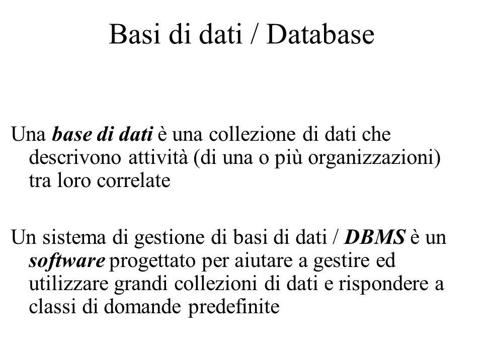 Basi di dati / Database Una base di dati è una collezione di dati che descrivono attività (di una o più organizzazioni) tra loro correlate Un sistema