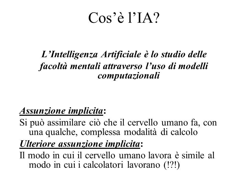 Cosè lIA? LIntelligenza Artificiale è lo studio delle facoltà mentali attraverso luso di modelli computazionali Assunzione implicita: Si può assimilar