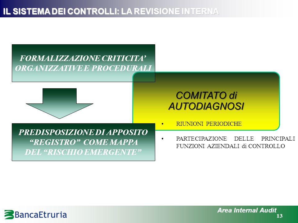 COMITATO di AUTODIAGNOSI 13 IL SISTEMA DEI CONTROLLI: LA REVISIONE INTERNA Area Internal Audit FORMALIZZAZIONE CRITICITA ORGANIZZATIVE E PROCEDURALI P