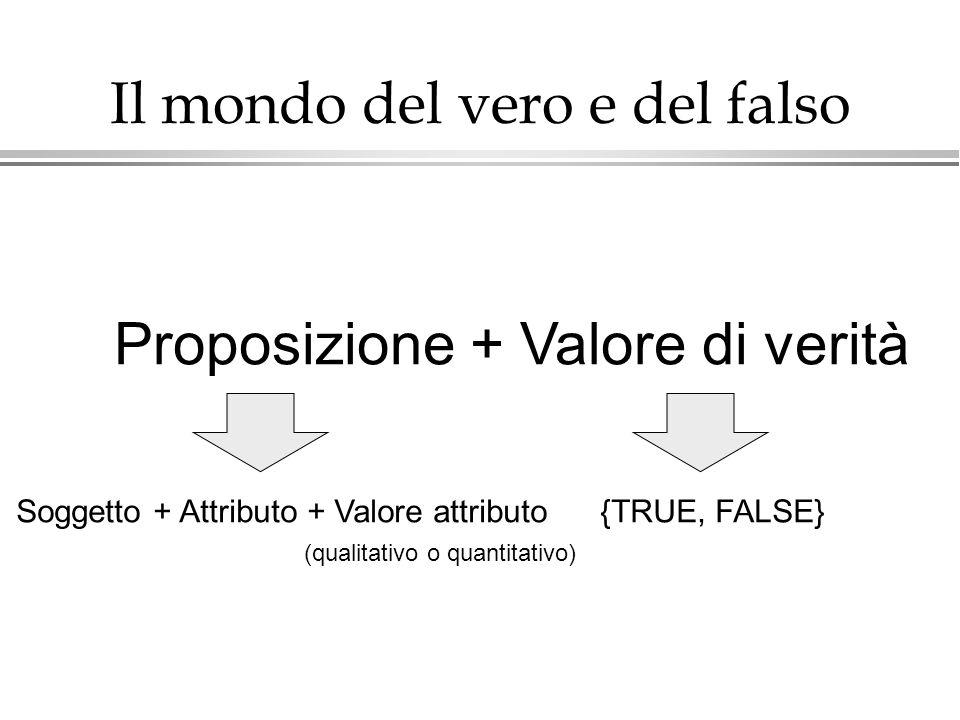 Il mondo del vero e del falso Proposizione + Valore di verità Soggetto + Attributo + Valore attributo (qualitativo o quantitativo) {TRUE, FALSE}