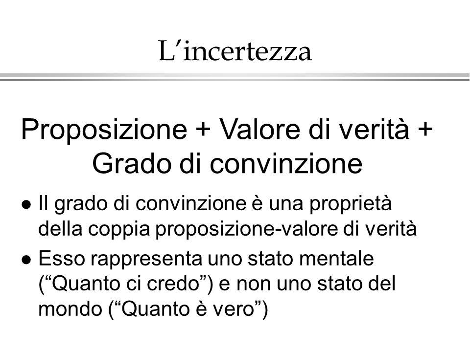 Lincertezza Proposizione + Valore di verità + Grado di convinzione l Il grado di convinzione è una proprietà della coppia proposizione-valore di verit