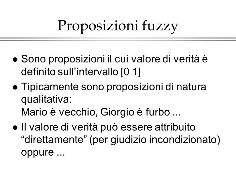 Proposizioni fuzzy l Sono proposizioni il cui valore di verità è definito sullintervallo [0 1] l Tipicamente sono proposizioni di natura qualitativa: